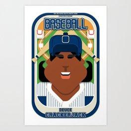 Baseball Blue Pinstripes - Deuce Crackerjack - Aretha version Art Print