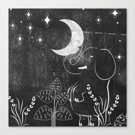 Elephant and Moon Canvas Print
