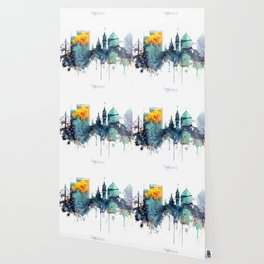 Watercolor Oakland skyline cityscape Wallpaper
