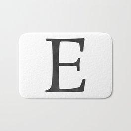 Letter E Initial Monogram Black and White Bath Mat