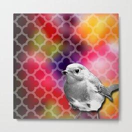 Grayscale Bird & Colorful Quatrefoil Metal Print