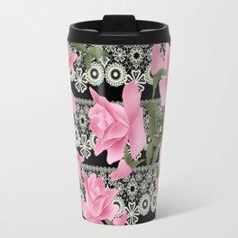 Gentle roses on a lace background. Travel Mug