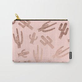 Modern rose gold cactus pattern on blush pink Carry-All Pouch