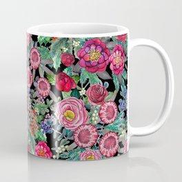 fall burgundy flowers and berries, autumn / winter, holiday botanical Coffee Mug