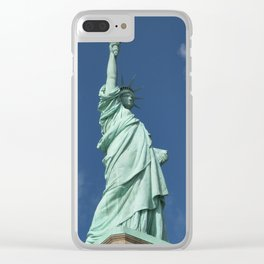 Blue Skies Behind Lady Liberty Clear iPhone Case