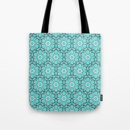 Symmetrical Flower Pattern in Turquoise Tote Bag