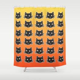Black Cats Halloween Pattern Shower Curtain