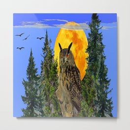 OWL WITH FULL MOON & TREES NATURE BLUE DESIGN Metal Print
