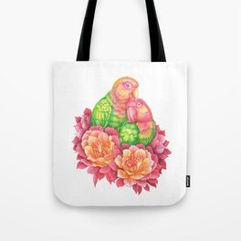 Lovebirds and Cactus Flowers Tote Bag