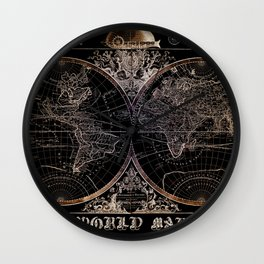 world map old vintage black Wall Clock