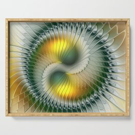 Like Yin and Yang, Abstract Fractal Art Serving Tray