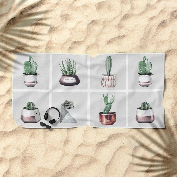 Cactus Bunch Grid Rose Gold Gray Green Beach Towel