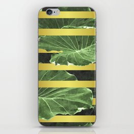 Green Leaves and Gold Stripes iPhone Skin