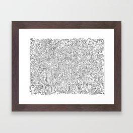 Graffiti Black and White Pattern Doodle Hand Designed Scan Framed Art Print