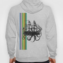 Kraken Attacking ship on Colorful Stripes Hoody