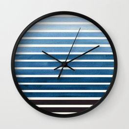 Green Blue Mid Century Modern Minimalist Scandinavian Colorful Stripes Geometric Pattern Round Circl Wall Clock