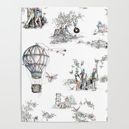 Brix and Bailey Skull Toile Poster