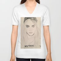 cara delevingne V-neck T-shirts featuring Cara Delevingne by Moira Sweeney