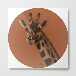 Round Giraffe Metal Print