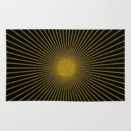 Gold glitter sun rays, gold glitter, gold black abstract geometric, gold sparkles Rug