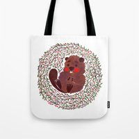 beaver Tote Bags featuring Baby Beaver by haidishabrina