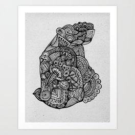 Sitting Hippo Doodle Art Print