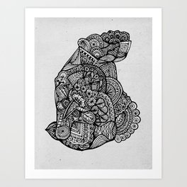 Sitting Hippo Doodle Art Print