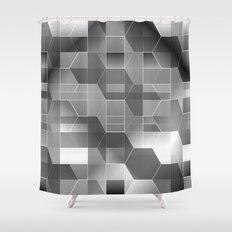 HexiPlaid Silver Shower Curtain
