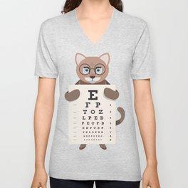 cat eye chart  Unisex V-Neck