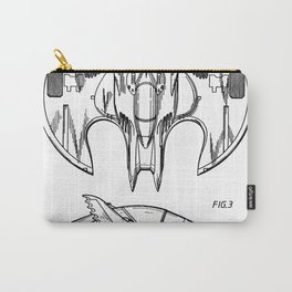 Batwing Patent - Bat Wing Art - Black And White Carry-All Pouch