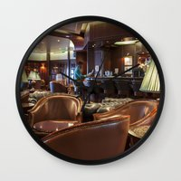 bar Wall Clocks featuring Lounge Bar by Deborah Janke