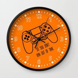Video Games Orange Wall Clock
