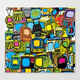 Televisions of various ages Canvas Print