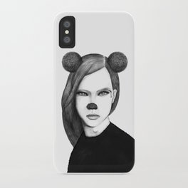 The girl with mouse ears iPhone Case