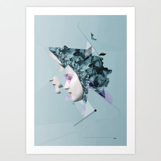 Faces Blue 05 Art Print