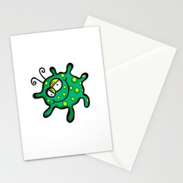 Happy Green Spotty Germ Stationery Cards