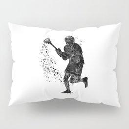 Boy Lacrosse Black Watercolor Sports Art Pillow Sham