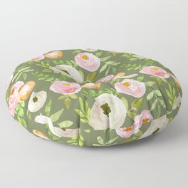 Rustic Floral on Green Floor Pillow