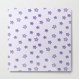 Abstract lilac violet lavender modern floral pattern Metal Print