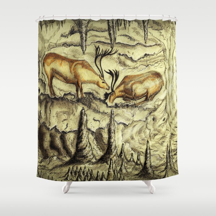 Rock Shelter Reindeer Shower Curtain
