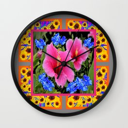 GREY PINK TROPICAL HIBISCUS BLUE-YELLOW FLOWERS Wall Clock