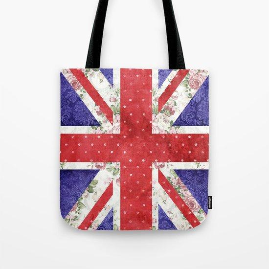 Vintage Red Polka Dots Floral UK Union Jack Flag and Blue Damask Tote Bag