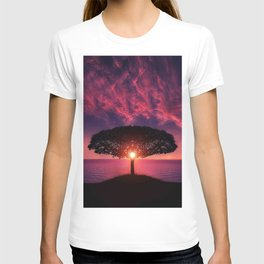 Purple Coastal Sunset with Lonely One Tree Hill color photograph / photography T-shirt