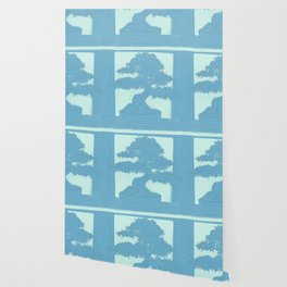Bonsai Blue on Blue Wallpaper