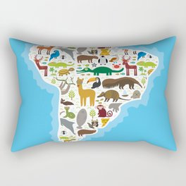South America sloth anteater toucan lama bat seal armadillo boa manatee monkey dolphin Maned wolf Rectangular Pillow