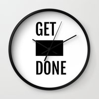 get shit done Wall Clocks featuring Get Shit Done - White by Elisa Gordon