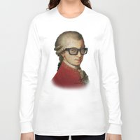 mozart Long Sleeve T-shirts featuring Funny Hipster Mozart by Paul Stickland for StrangeStore