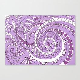 zen tangled swirl pattern 1 on the violet Canvas Print