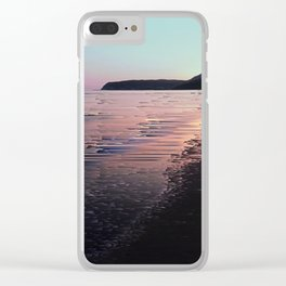 Glitched Sunset on the Ocean Clear iPhone Case