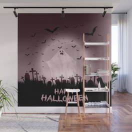 Halloween landscape with ghostly figure and haunted cemetery Wall Mural